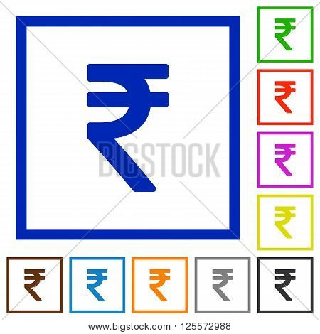 Set of color square framed Indian rupee sign flat icons on white background