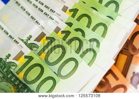 Euro Cash Money Closeup. One Hundred and Fifty Euros Banknotes Background.