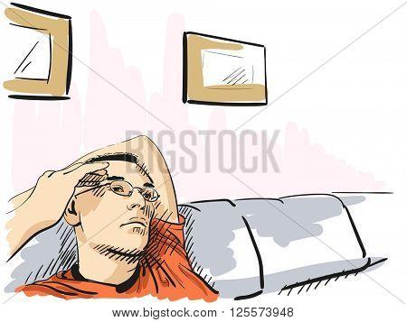 Sketch of man resting on sofa, Hand drawn illustration