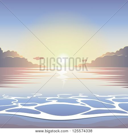 Sunrise on the beach with surf waves and sun vector summer background summer illustration summer beach summer morning landscape seaside view poster