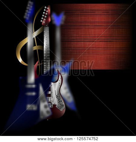 Vector illustration of electric rock guitar blurred in the foreground and blurred rock guitar in the background, on the background of the treble clef and stave on paper.