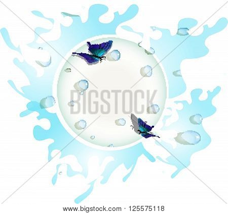 Pure water. Water drops. Blue butterfly. Vector water