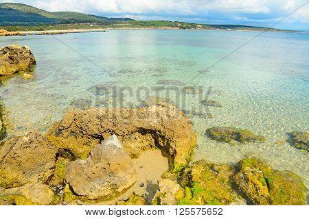 yellow rocks by Alghero shoreline in Italy