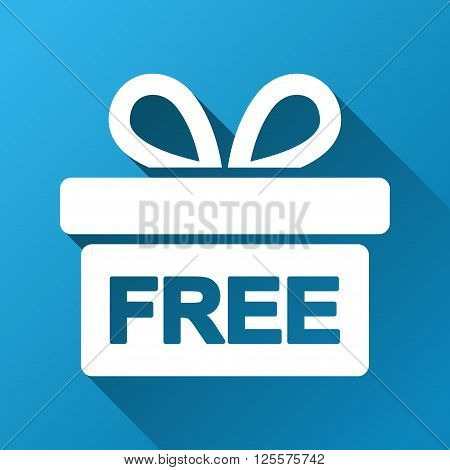 Free Gift Box vector toolbar icon for software design. Style is a white symbol on a square blue background with gradient long shadow.