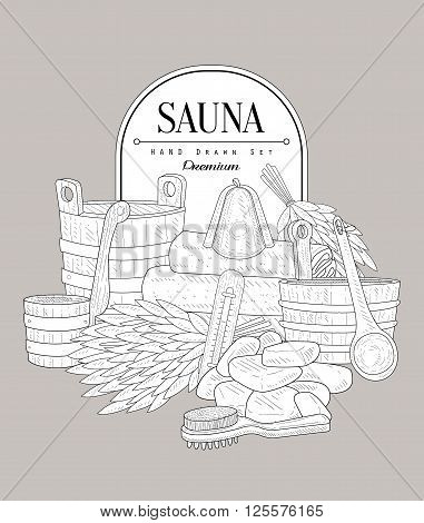 Sauna Set Vintage Vector Hand Drawn Design Card