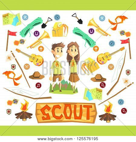 Children Scouts Vector Flat Cartoon Colorful IIlustration
