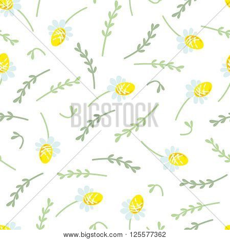 Seamless floral pattern with small camomiles and sprigs of plants