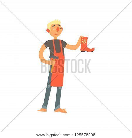 Profession Shoemaker Primitive Cartoon Style Isolated Flat Vector Illustration On White Background