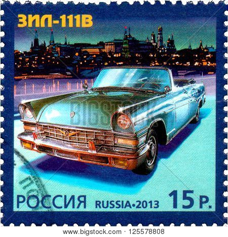 RUSSIA - CIRCA 2013: A stamp printed in Russia shows ZIL-111V history of Automobile Production a Joint Issue of Russia and Monaco circa 2013.