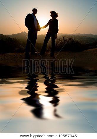 Amor de pareja al aire libre