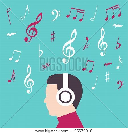 Man profile silhouette with headphone music illustration vector
