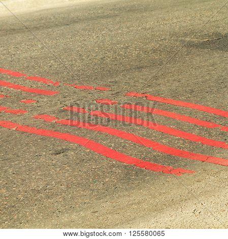 Red Line On Old Asphalt Road Texture Background