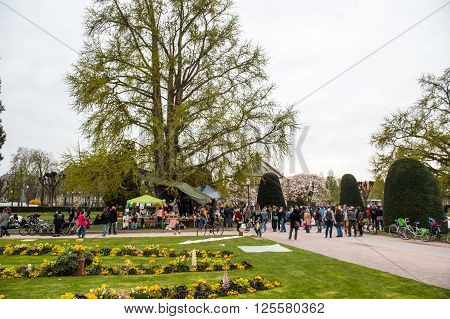 STRASBOURG FRANCE - APR 9 2016: People join the 'Nuit Debout' or 'Standing night' movement at the Place de la Republique in Strasbourg