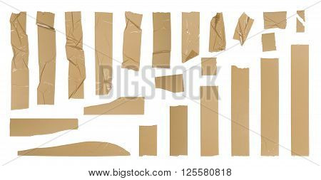 Brown adhesive tape set, isolated on white