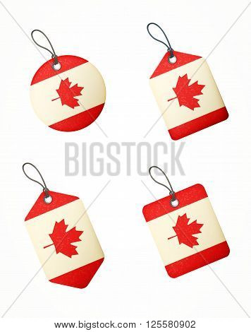 Vector Set Of Labels With Canada Flag