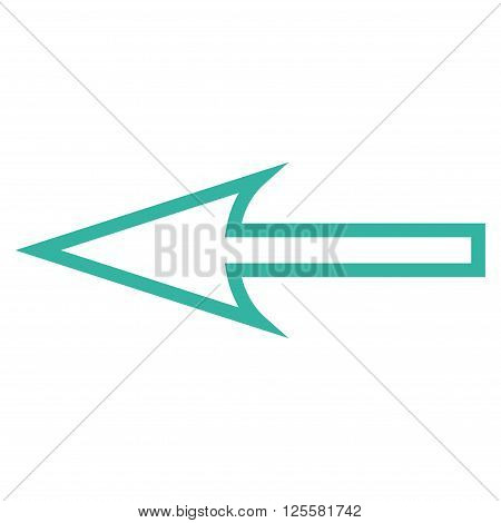 Sharp Arrow Left vector icon. Style is outline icon symbol, cyan color, white background.