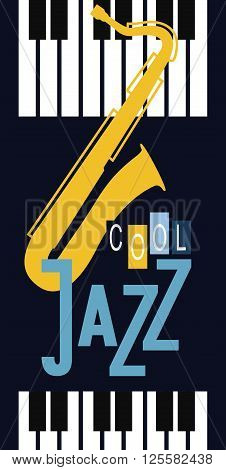 vector poster on the theme music to jazz and blues