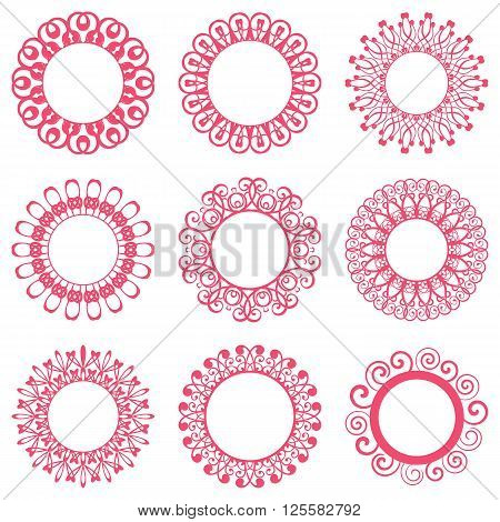 Set of beautiful red napkin lace design elements
