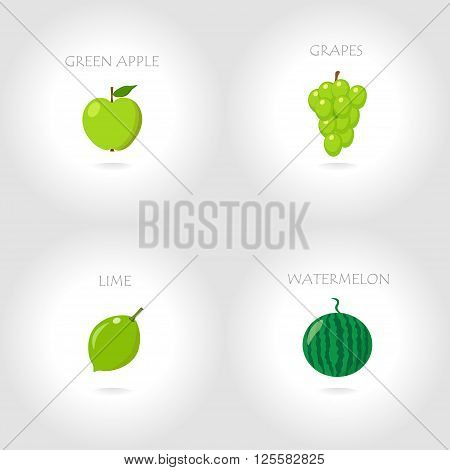 green apple grapes lime watermelon vector illustration set abstract