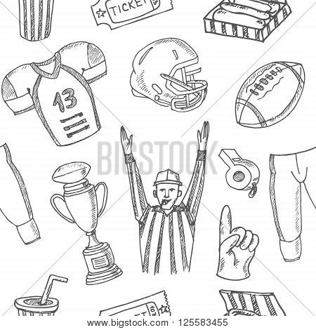Baseball seamless pattern. Sketches of various stylized, baseball equipment, baseball icons, baseball field, ball, mitt. Hand-drawing. Vector illustration for design and packages product.
