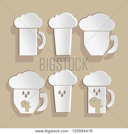Beer  mugs application. Set of cartoon beer mugs. Scrub booking style.