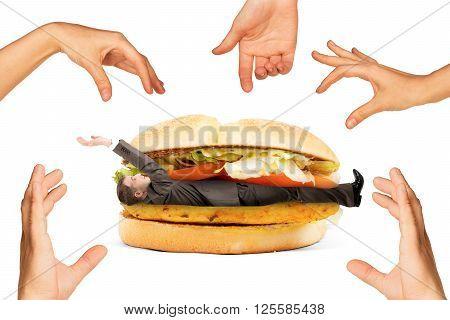 Businessman inside hamburger and set of hands isolated on white background