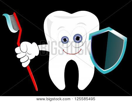 Dental protection conceptual vector illustration. Cartoonish tooth standing with a toothbrush and a shield. Dental care symbol