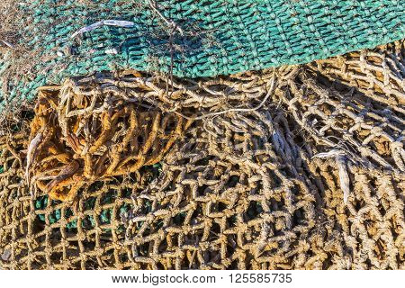 Details of an old fishing net fishing net in the port
