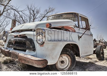 Vintage pickup truck abandoned classic junkyard wreck old automobile