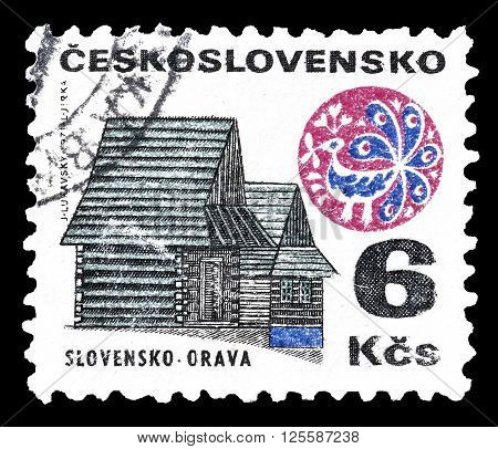 CZECHOSLOVAKIA - CIRCA 1971 : Cancelled postage stamp printed by Czechoslovakia, that shows Cottage.