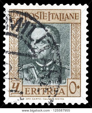 ERITREA - CIRCA 1931 : Cancelled postage stamp printed by Eritrea, that shows king Vittorio Emanuele.