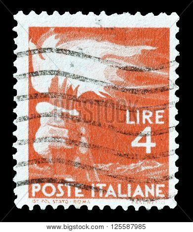 ITALY - CIRCA 1946 : Cancelled postage stamp printed by Italy, that shows torch.