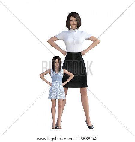 Mother Daughter Interaction of Proud Mom as an Illustration Concept 3D Illustration Render