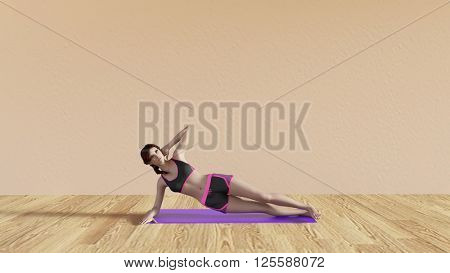 Yoga Class Side Plank Pose Illustration with Female Instructor  3D Illustration Render
