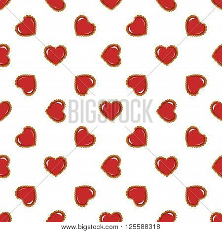 red hearts. Vector for Christmas, halloween, new year, St.Valentine, womens day and Thanksgiving. For textile, wallpaper and packaging.