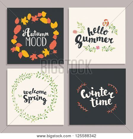 Season illustration. Vector illustration. Four season hand drawn lettering card.Vector illustration.
