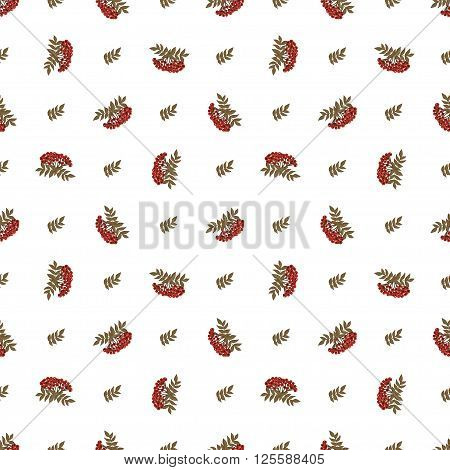 Autumn seamless pattern with colored berries of rowan and leaves. Vector for Christmas, halloween, new year, St.Valentine, womens day and Thanksgiving. For textile, wallpaper and packaging.