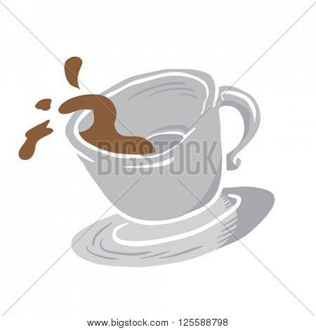 coffee cup spill cartoon