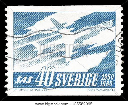 SWEDEN - CIRCA 1961 : Cancelled postage stamp printed by Sweden, that shows airplane.