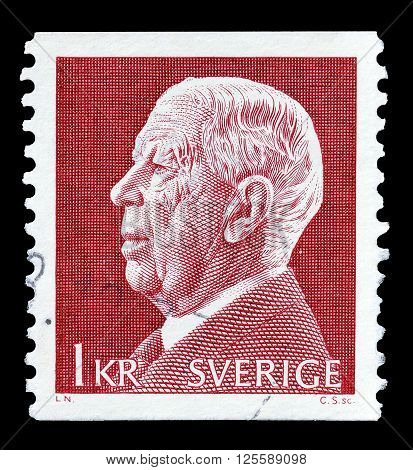 SWEDEN - CIRCA 1972 : Cancelled postage stamp printed by Sweden, that shows king Adolf Gustaf.