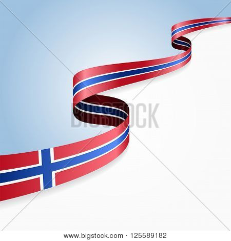 Norwegian flag wavy abstract background. Vector illustration.