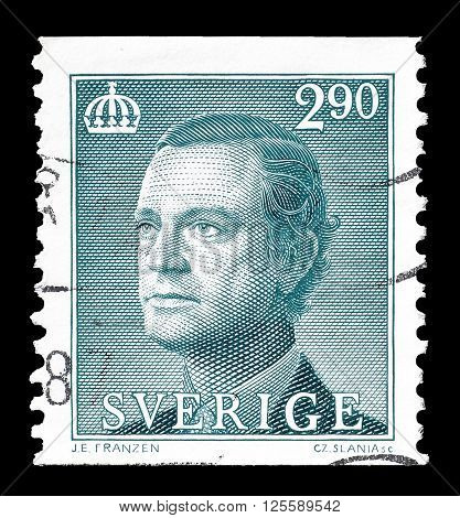 SWEDEN - CIRCA 1983 : Cancelled postage stamp printed by Sweden, that shows king Carl Gustaf.