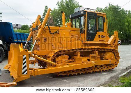 Tyumen, Russia - May 22. 2015: Bulldozer B10M on exhibition range. Chelyabinsk Tractor Plant. Tyumen exhibition of construction equipment
