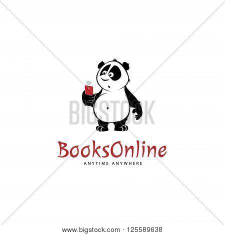 Panda bear character using mobile logo design