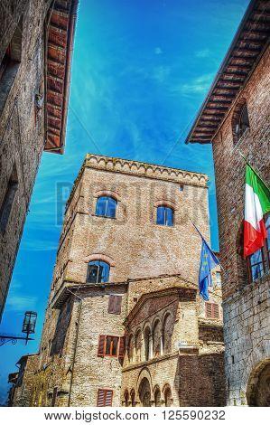 Historic buildings in San Gimignano in Italy