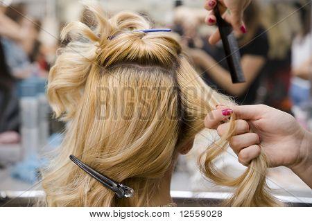 Blonde woman at hair salon