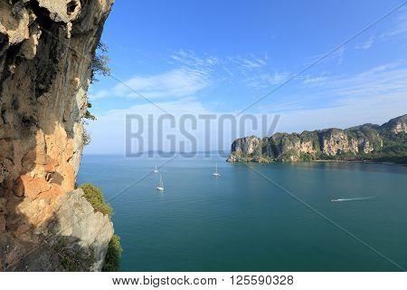 closeup of beautiful seaside mountain rock wall landscape
