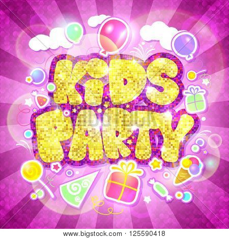 Kids party pink with gold design, invitation card mock up, rays of light, balloons, gifts and ice-cream