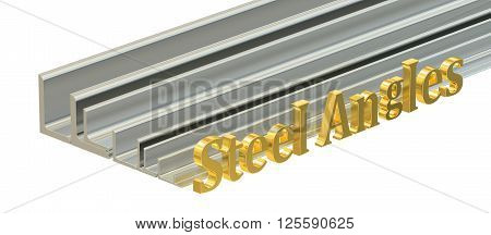 rolled metal L-bar steel angles. 3D rendering isolated on white background