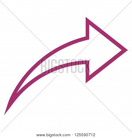 Redo vector icon. Style is outline icon symbol, purple color, white background.